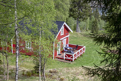 Old farm house in forest (G E Nilsen) Tags: nordland norway no old farm house woods red trees forest nordnorge northernnorway norwegiancoast
