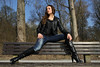 Tatjana 34 (The Booted Cat) Tags: sexy cute teen model girl tight blue jeans leather jacket boots overkneeboots heels highheels