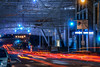 1st at mission street (pbo31) Tags: sanfrancisco california nikon d810 color april spring 2018 boury pbo31 lightstream motion traffic roadway financialdistrictsouth city urban construction transbay terminal salesforce night dark black blue red tunnel infinity