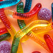 Closeup of colorful jelly worms and other assorted jellies