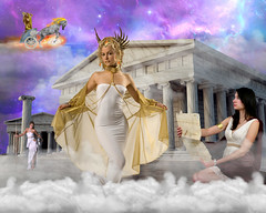 Goddess Hermes (Davien Orion) Tags: photoshopelements photomanipulation explore deviantart deviant hermes greekgodhermes greekgod greekgoddess greekmythology greek greektemple temple mtolympus mountolympus olympus messanger apollo athena gold clouds white purple scribe women woman model stock