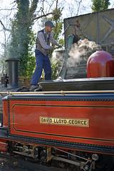 A thirsty David Lloyd George fuels up (Majorshots) Tags: ffestiniograilway rheilfforddffestiniog gwynedd northwales wales steamrailway steamlocomotive steam tanybwlchstation fairlieclasssteamlocomotive davidlloydgeorge dafyddlloydgeorge narrowgaugerailway narrowgaugesteamrailway uksteam