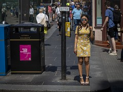 No Loading (Leanne Boulton) Tags: people road urban street candid portrait streetphotography candidstreetphotography streetlife eyecontact candideyecontact woman female girl pretty face look mood emotion feeling posture standing legs pink blue yellow dress flowers style fashion summer stylish tone texture detail depth naturallight outdoor sunlight light shade shadow city scene human life living humanity society culture lifestyle canon canon5d 5dmkiii 70mm ef2470mmf28liiusm color colour glasgow scotland uk