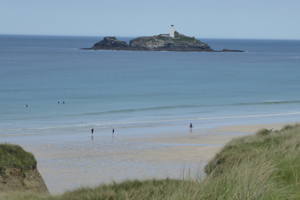 Godrevy lighthouse from Gwithian Towans beach