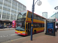 Rail replacement buses on Smallbrook Queensway, Birmingham - Midland Classic (ell brown) Tags: smallbrookqueensway birmingham westmidlands england unitedkingdom greatbritain bankholidaymonday springbankholidaymonday bus buses railreplacementbus railreplacementbuses tree trees midlandclassic bullring rotunda