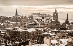 Edinburgh In Winter (www.edinburghhd.co.uk) Tags: approved edinburgh scotland snow historic calton hill winter cityscape vista red sky princes street scottish long exposure canon 5d3 balmoral hotel sunset city building tower dean village town water leith tree wood river 5d