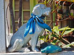 I have been sitting here a long time...... (Grazerin/Dorli Burge) Tags: ornament statue dog spiderwebs frontyard venicecanals venice california elements outside