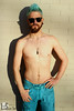 Cameron (Levi Smith Photography) Tags: shirtless man chest abs thin skinny guy male blue hair dye unicorn jeans turqouise sunset portrait desert pants sunglasses fashion clothing men mens