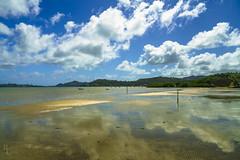 Kaneohe Bay Sand & Sky (RobertCross1 (off and on)) Tags: a7rii alpha emount hi hawaii ilce7rm2 kaneohe oahu pacificocean sony bay beach bluesky boat clouds fullframe island landscape mirrorless ocean reflection sand sea seascape tide trees water windward