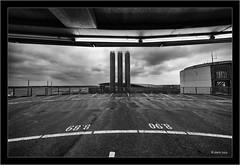 #8.90 Hamburg Airport P5 with Voigtlander Heliar-Hyper Wide 10mm f/5.6 Aspherical (Dierk Topp) Tags: a7rii a7rm2 bw hh ilce7rii ilce7rm2 sonya7rii voigtlanderheliarhyperwide10mmf56aspherical architecture clouds flughafen hamburg monochrom sw sony superwide
