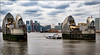 Thames Barrier, Piers 7 and 8 (Explored 08-04-2018) (Fermat48) Tags: london dome shard thamesbarrier skyline piers cranes water cityscape river canon eos7d markii mark2 clouds pleasureboat cablecar