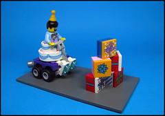 Party Games (Karf Oohlu) Tags: lego moc minifig collectibleminifig serfies18 birrthdayparty birthdaycake presents wall car partygame partyhat