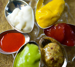 Macro Monday~ condiments (Karen McQuilkin) Tags: macromondays condiments mustard ketchup wasbi mayo macromondayscondiments food selfie cholululahotsauce silver spoons