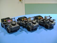 Custom Lego WW2 German Kubelwagen V3 trio (TekBrick) Tags: custom lego ww2 german kubelwagen brick moc war soldier officer dark grey gray wheels version 3 trio
