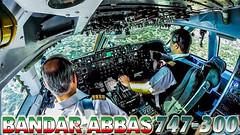 Mahan Air 747-300 (JustPlanes) Tags: bandar abbas tehran iran mahan air boeing 747 classic pilot pilots cockpit flightdeck landing pilotsviews pilotseye