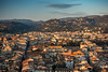 Florence cityscape and Tuscan hills (Joe Dunckley) Tags: fiesoleanhills firenze florence italian italy renaissancearchitecture toscana tuscan tuscany aerialview architecture birdseyeview building city cityscape dusk evening fromabove hill hills house houses landscape nature rooftops sunset valley villa