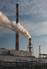 Power plant smoke chimney Krakow, Poland (TomaszMazon) Tags: chimneys city clearsky contrast electricity haze heatingplant heavyindustry illuminated industrial industry krakow morning poland pollution power powerplant production smog smoke sunlight