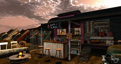Tejas Cantina (Rose Beaumont) Tags: thor sangria bar desert gacha cars tejas texas mojave cantina outdoor vintage sl secondlife furnitures
