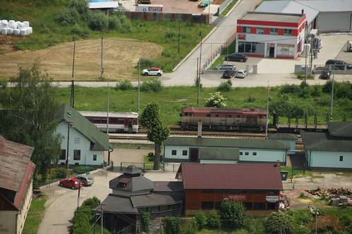 Blick auf den Bahnhof vom Schloss Oravsky Hrad