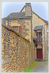 Les rues de Ste Eulalie - 2 - In Explore (GilDays) Tags: france steeulaliedolt aveyron massifcentral midipyrénées occitanie rouergue village lesplusbeauxvillagesdefrance maison house nikon nikond810 d810 so0518 fenêtre volet porte window shutter door cheminée chimney mur wall rue street blue jaune bleu yellow vert green explore explorer