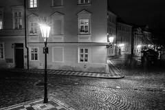 Street corner in Prague (borishots) Tags: 28mm 28mmf2 sonyalpha7 sonyalphailce7 sonyfe28mmf2 borishots sony sonya7 wideangle street streetcorner corner bw blackandwhite monochromatic monochrome light lightbulbs sunset sunstars night longexposure prague czech europe travel travelphotography architecture oldarchitecture windows facade buildings building lamp streetlamp streetlight lights