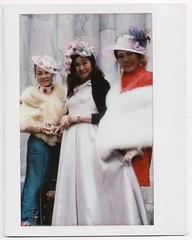 Eastern bonnet ladies (yarr2d2) Tags: speedgraphic graflex largeformat notreally4x5 instaxwide fujiinstaxwide polaroid instant doxie easter bonnetfestival2018 parade hats nyc newyorkcity