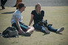 Tokyo Holiday #2 (kasa51) Tags: people street park sunbathing tokyo japan couple foreigntourist