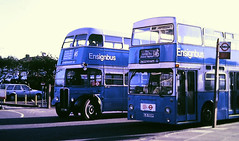 Slide 116-59 (Steve Guess) Tags: dagenham barking london essex england gb uk bus aec regent iii rt rt3232 kyy961 lrt regional transport dms500 daimler fleetline kjd500p
