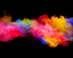 Explosion of colored powder on black background (linnesvijay) Tags: color colorful powdered black isolated powder smoke background dust launched gas splash burst closeup explode nobody cutout yellow explosion ink purple texture design speed spray smog cosmos blackbackground abature pouring wallpaper fume blooming chemicial white mass red cosmic glowing splatter paint violet clouds abstract creative toxic cut blue ash czechrepublic