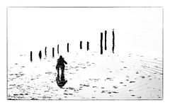 The Islandhill Photographer or...... (RonnieLMills 5 Million Views. Thank You All :)) Tags: islandhill photographer high tide wooden posts diving platform mono bw blackandwhite
