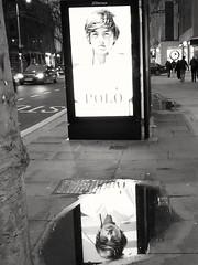 Bus stop reflection... (markwilkins64) Tags: kensingtonhighstreet london reflection busstop puddle night blackandwhite mono monochrome bw