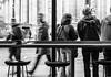 HWW! (deborahb0cch1) Tags: london saintpaul busstop window people geometric café passersby lines stripes monochrome blackandwhite noiretblanc bus stop walk walkingby sidewalk watching peoplewatching