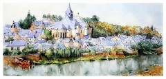 Candes - Saint - Martin - Val de Loire - France (guymoll) Tags: candes loire saintmartin france croquis sketch aquarelle watercolour watercolor fleuve village église church valdeloire