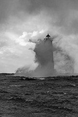 High Winds (Aaron Springer) Tags: michigan northernmichigan lakemichigan thegreatlakes frankfortlighthouse breakingwave gale water clouds monochrome blackandwhite portraitorientation outdoor nature landscape