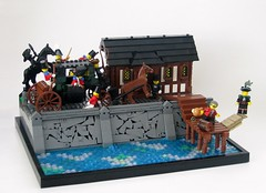 A Dash to the Docks (Robert4168/Garmadon) Tags: lego dock wharf carriage quinnsville corrington captain braunsfeld storyline statue building brethrenofthebrickseas