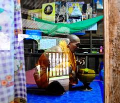 ,, Deep Reflection ,, (Jon in Thailand) Tags: monk buddhistmonk red yellow purple blue teal green reflection thaimonk mosquitonet almsbowl thekingspicture deepreflection reflections pink orange dogstory junglejournalist street streetphotographyjunglestyle streetphotography nikon d300 nikkor 175528 mrkindmonk gentlesoul