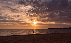Chasing the Light (RP Major) Tags: beach light sun sunset clouds port phillip bay mentone melbourne landscape running jogging