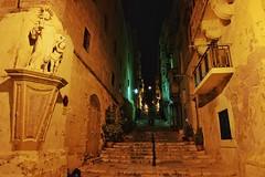Malta Streets (Douguerreotype) Tags: balcony dark malta buildings street lights stairs city architecture valletta night urban steps