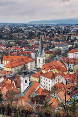 Old town viewed from the nearby hill (Davide Seddio) Tags: slovenia ljubljana city europe architecture nopeople outdoors colorimage day photography panoramicview cityscape
