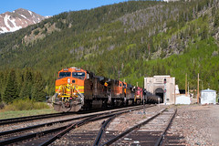 East Portal Orange (Wheelnrail) Tags: bnsf burlington northern santa fe ge c449w hpvoden union pacific up railroad rail road moffat tunnel subdivision rocky mountains snow cap peaks train trains