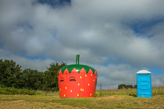 Sleeping strawberry (Ron and Co.) Tags: strawberry kiosk beccles stockton norfolk summer portaloo sky clouds