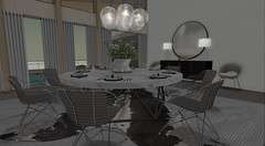 Client Work - Atlantic Avenue (brinks_lemmon) Tags: dinning room chair table buffet console food light lights fixture carpet rug hide area cow white fresh modern flower flowers plant plants design interior lamp glass tableware dish plate fork knife spoon