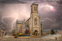 4 pm10 (Jean-Michel Priaux) Tags: church abbey flash terrific clouds tempest scary scare paint painting paintingmatte mattepainting storm
