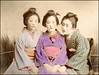 Three Geisha (ookami_dou) Tags: vintage japan handcolored albumen geisha kimono 芸者