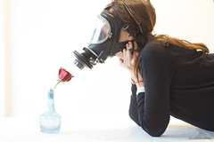 A63 T-20180316-00002 (luiscoarnal) Tags: flower gas mask smelling red black white