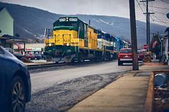 Nittany and Bald Eagle (benpsut) Tags: nber4174 4174 tyrone streetrunning trains railroad road sidewalk house cars car nittany nittanyandbaldeagle eagle baldeagle nber4 pennsylvania