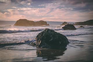Moody Evening Beach Scene