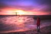 Morning Dream (Zscherny) Tags: morgen morning sun rise day digital lake water purple landschaft landscape reflection woman goitzsche clouds sky blue yellow