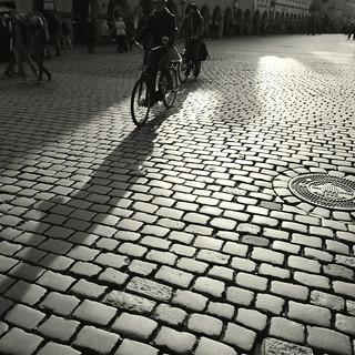 Bicycles on cobblestone