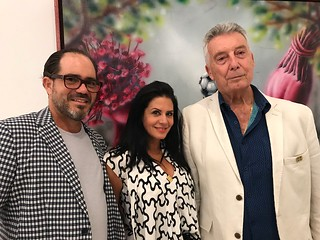 Artist Sinuhe Vega with collectors Marlen Pernetti and Bruno Carnesella